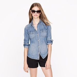 J Crew Western Denim Shirt Snap Buttons SZ 10